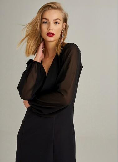 Monamoda Şifon Kol Detaylı Elbise Siyah